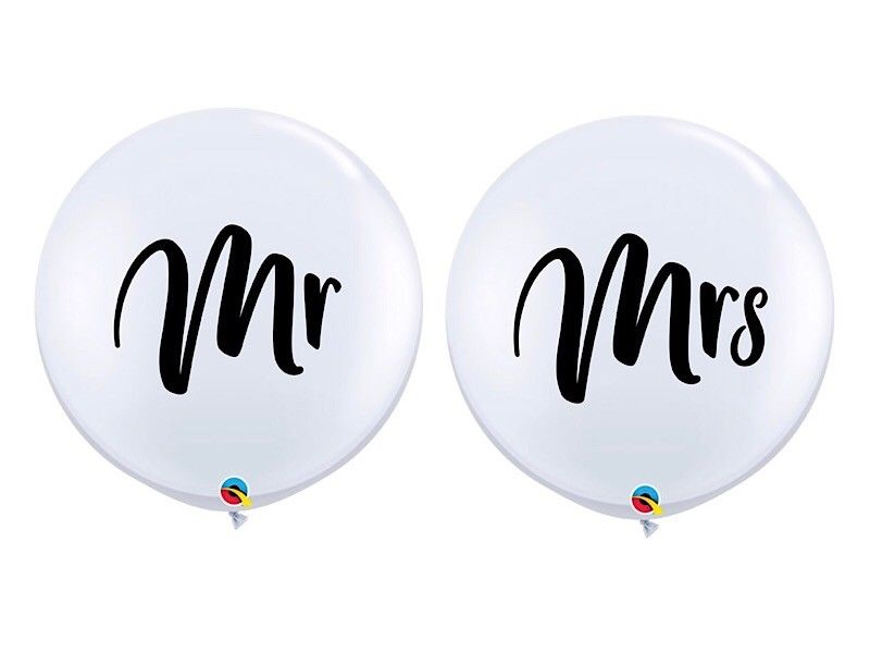 3ft White Mr and Mrs Balloons Scripted and Round