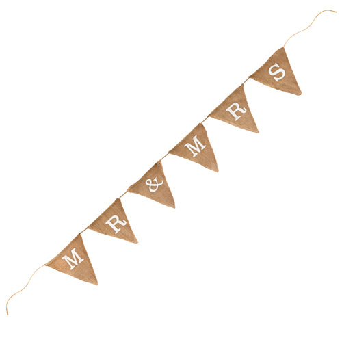 Mr and Mrs Rustic Burlap Bunting