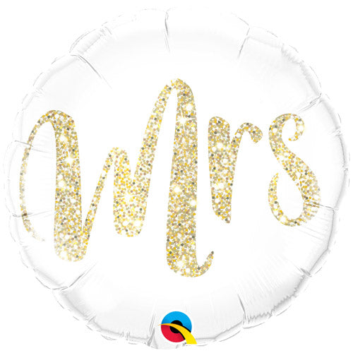 Gold Glitter Effect 'Mr and Mrs' Round Foil Balloons