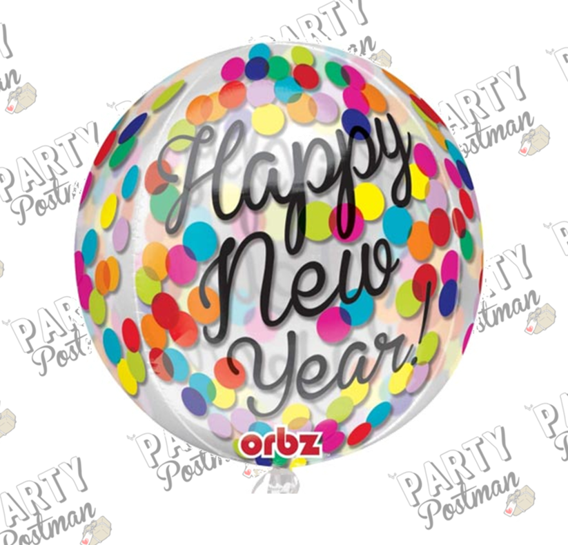 "16"" Round Confetti New Years Balloon"