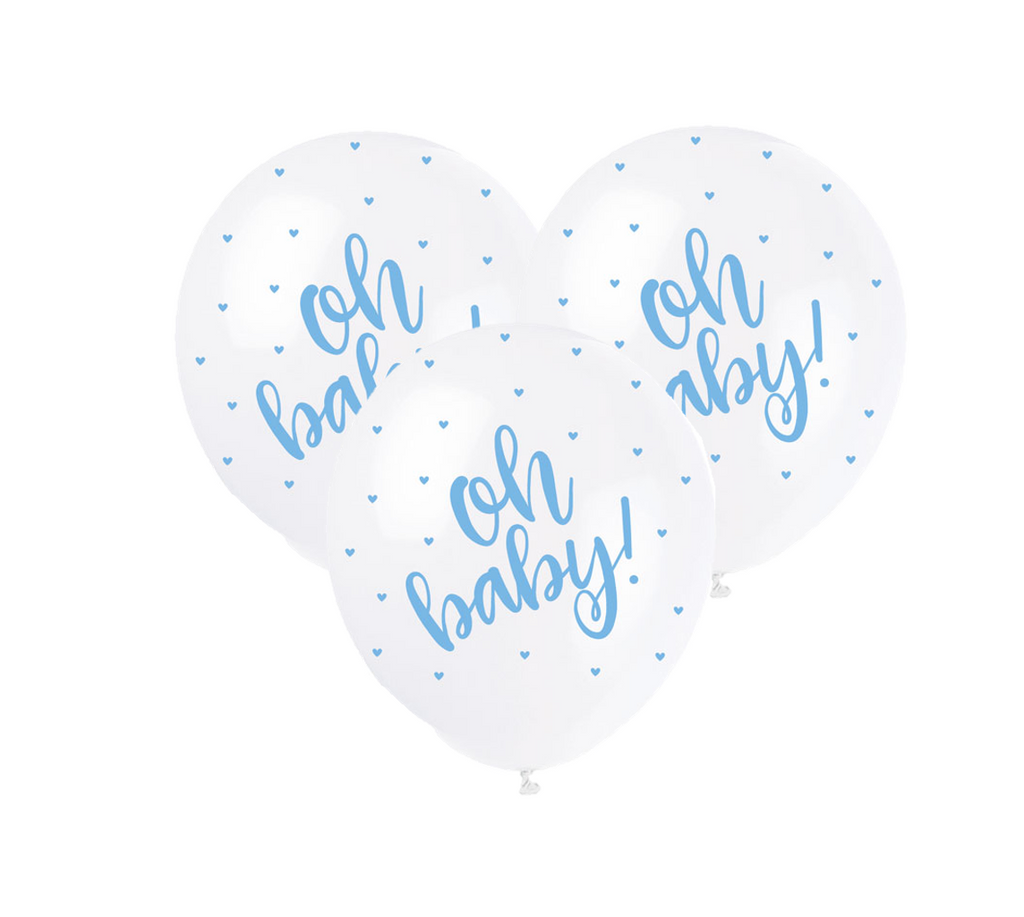 Oh Baby White & Blue polka dot Latex Balloons