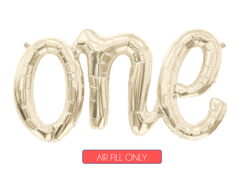 White Gold One Script Balloon