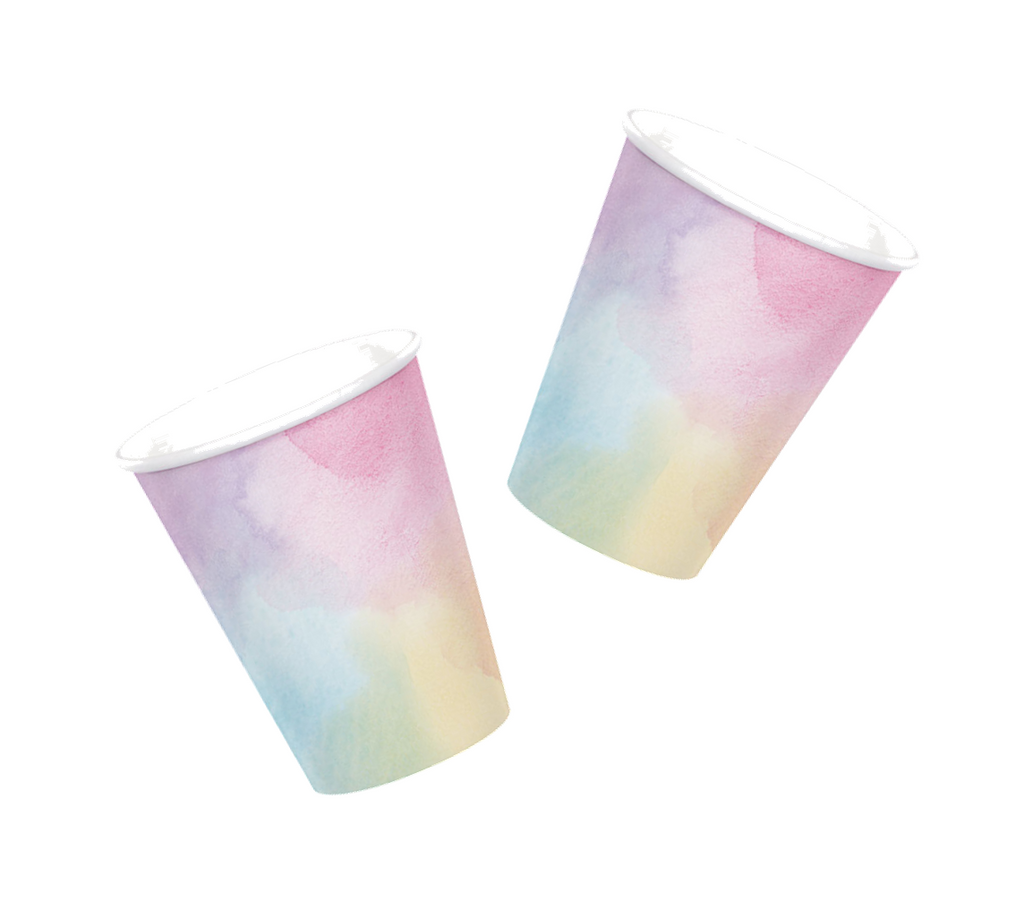 Pastel Watercolor Paper Cups