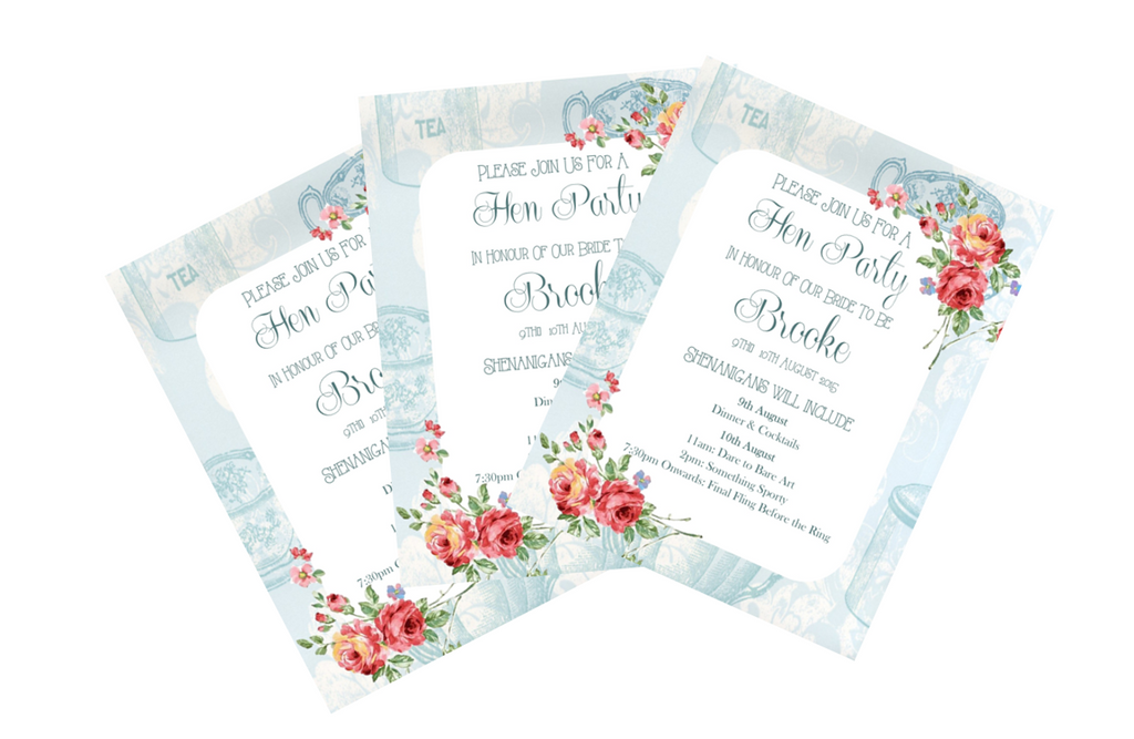 Bachelorette / Hen Party Printable Invitation in Floral Design in Blue - Digital File - The Party Postman