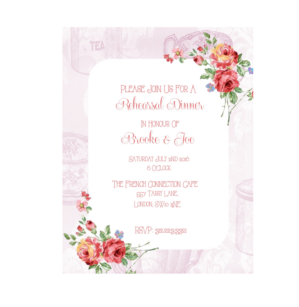 Rehersal Dinner Printable Invitation in Floral Design in Pink - Digital File - The Party Postman