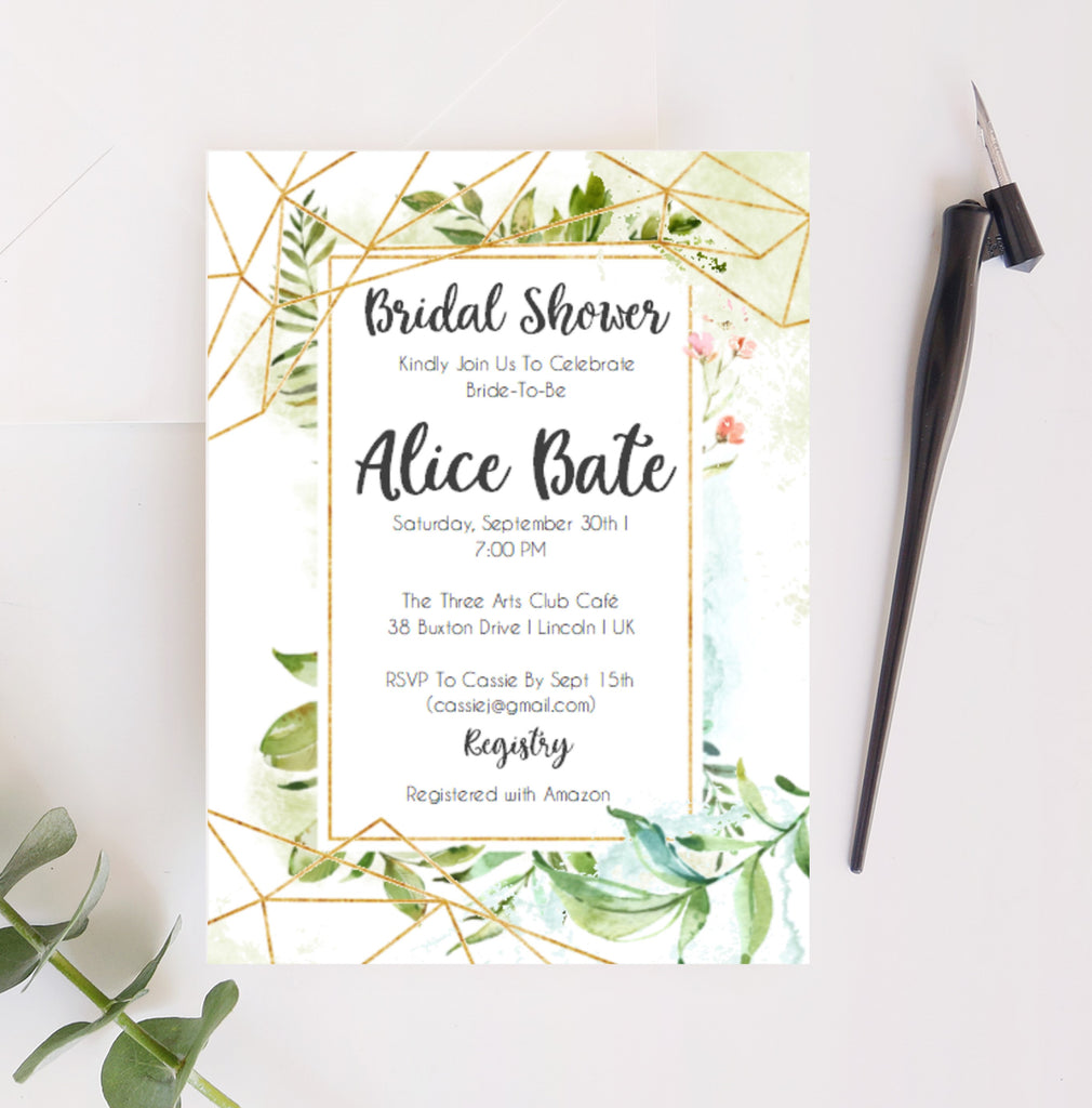 Bridal Shower Printable Invitation in with Gold Geometric and Greenery - Digital File