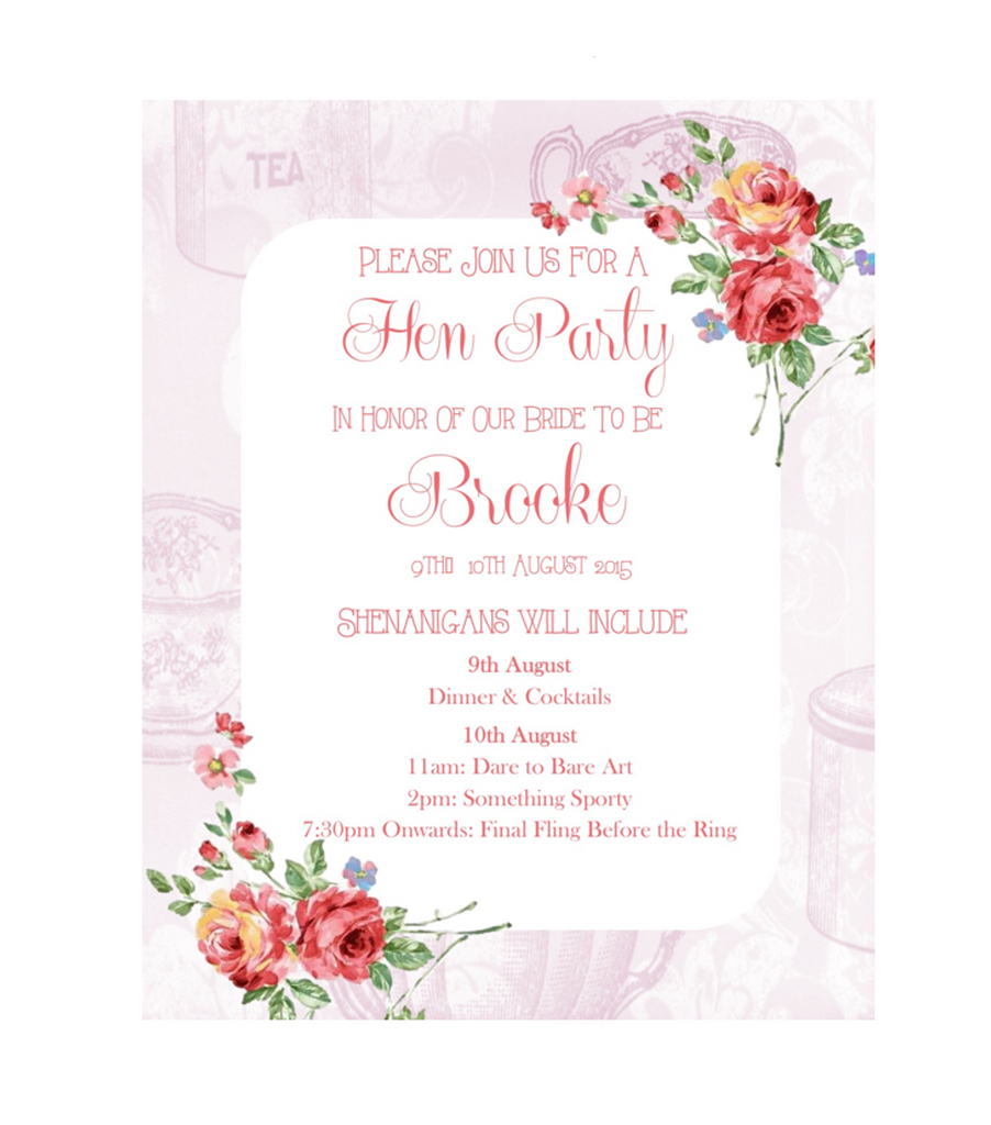 Bachelorette / Hen Party Printable Invitation in Floral Design in Pink - Digital File - The Party Postman