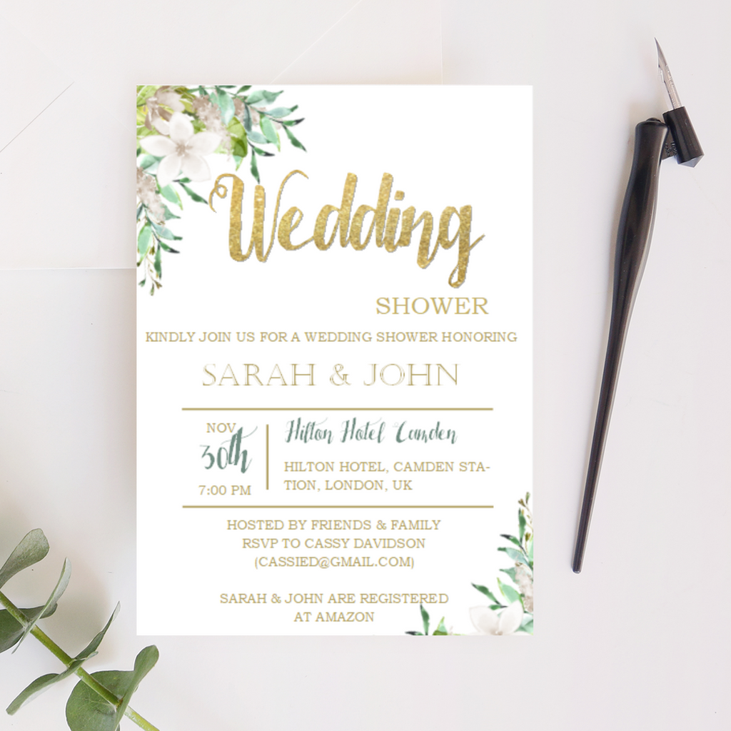 Wedding Shower Printable Invitation in with Winter Floral - Digital File