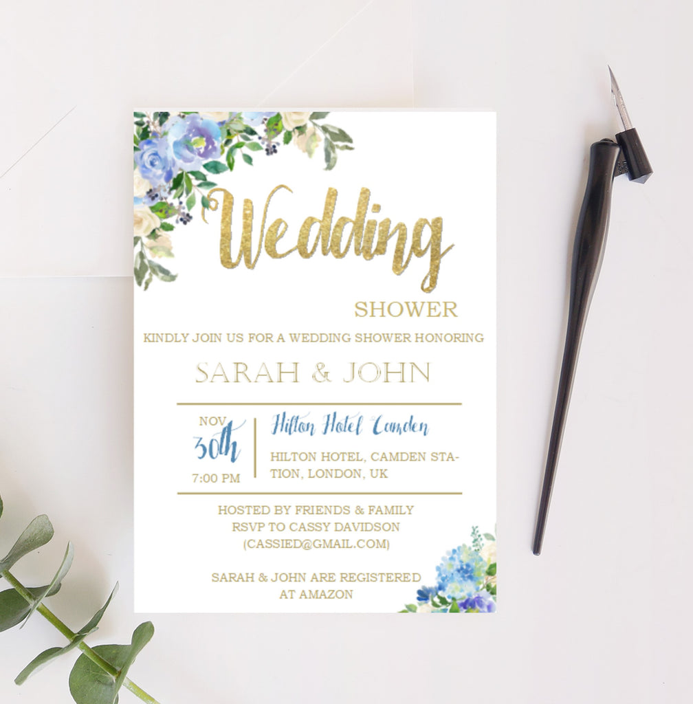 Wedding Shower Printable Invitation with Blue Watercolor florals - Digital File