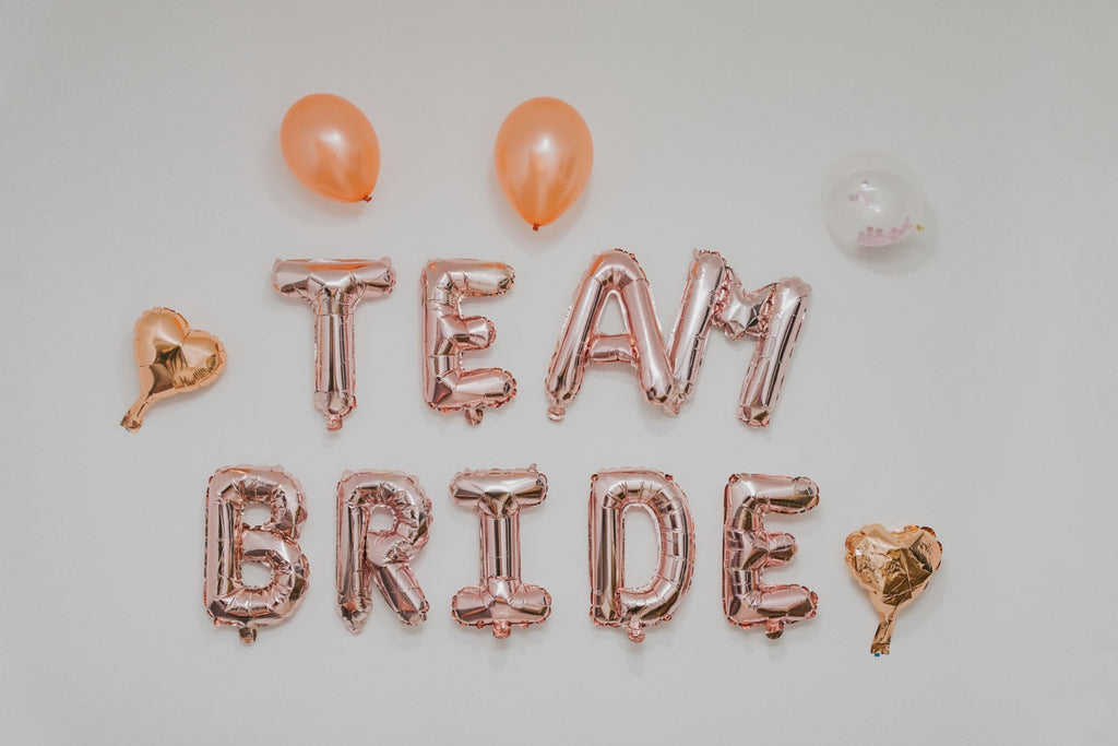 Rose Gold Team Bride Balloons for Bachelorette and Hen Do parties