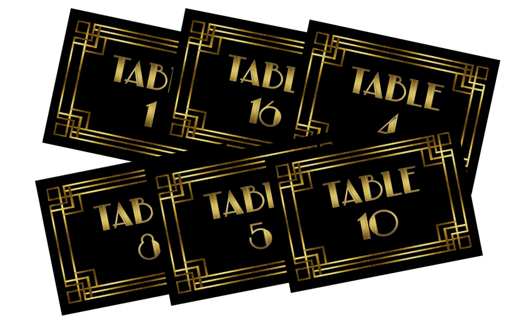 1920s Style Printable Table Numbers 1 - 24 - Digital File - The Party Postman