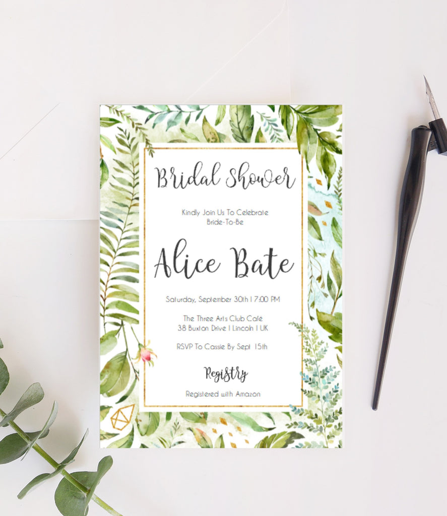 Bachelorette / Hen Party Printable Invitation in foliage and Greenery - Digital File