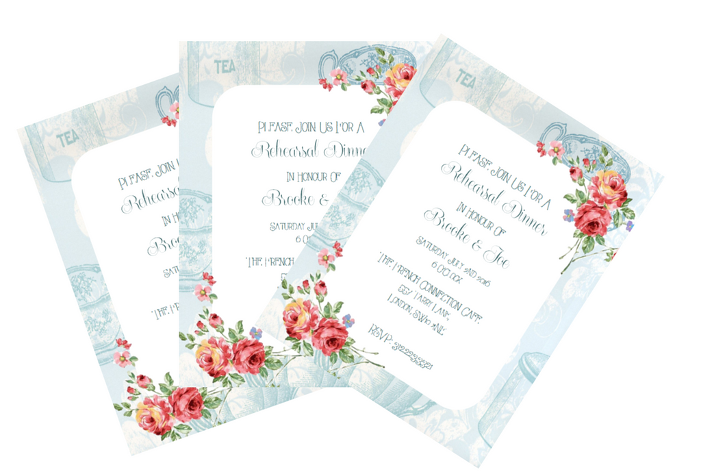 Rehersal Dinner Printable Invitation in Floral Design in Blue - Digital File - The Party Postman