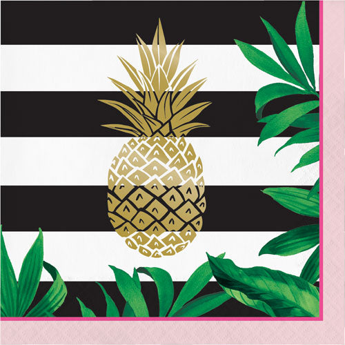 Light Pink, Black, White and Gold Foil Pineapple Party Napkins