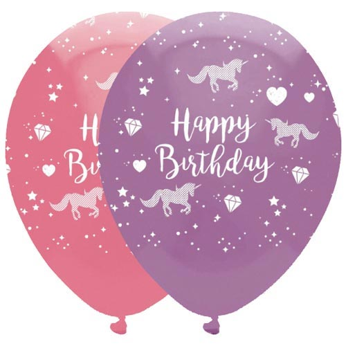 Purple and Pink Happy Birthday Unicorn Latex Balloons