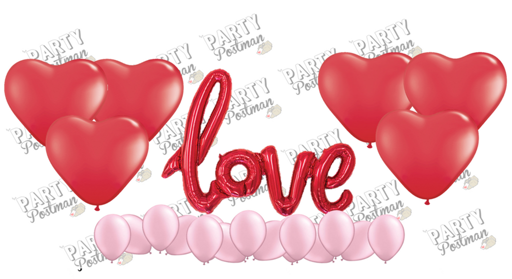 Red Love Balloon Cluster - Red & Pink - The Party Postman