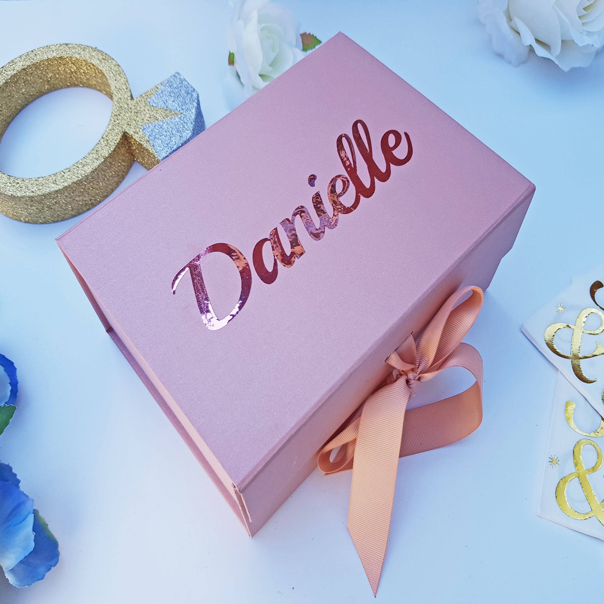 Rose Gold Personalised Gift Box For Birthday Bridesmaid Proposal Or Christmas Gift Box