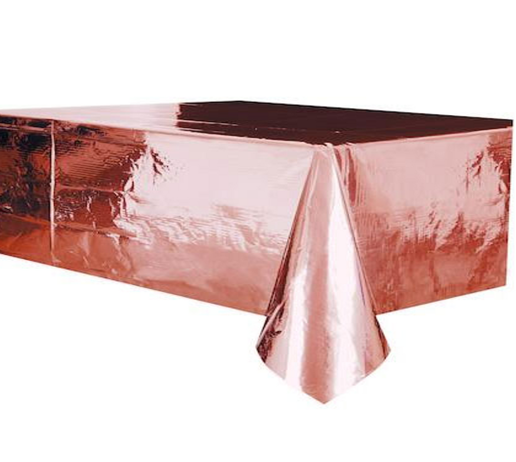 Metallic Rose Gold Plastic Tablecover