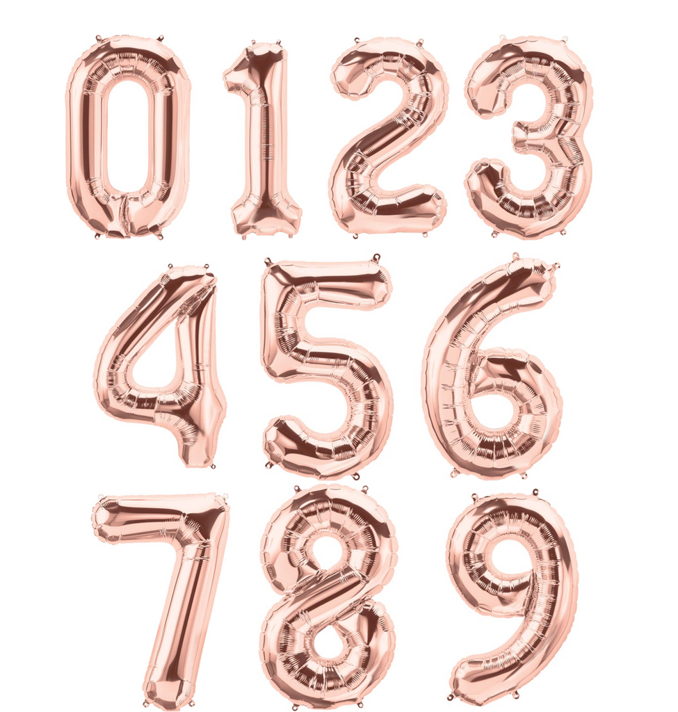 Rose Gold Large Foil Number Balloons