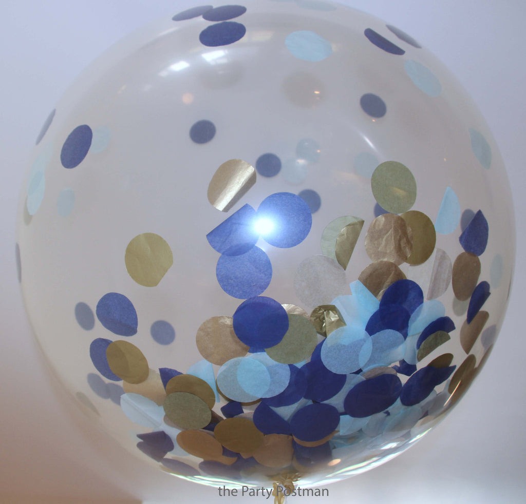 Custom Colours for Confetti Filled Giant Round Clear Balloons - The Party Postman