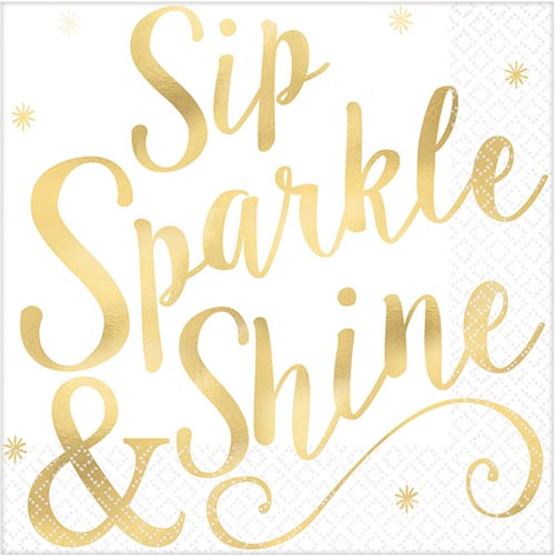 Gold Foil Napkins 'Sip, Sparkle & Shine' Party napkins