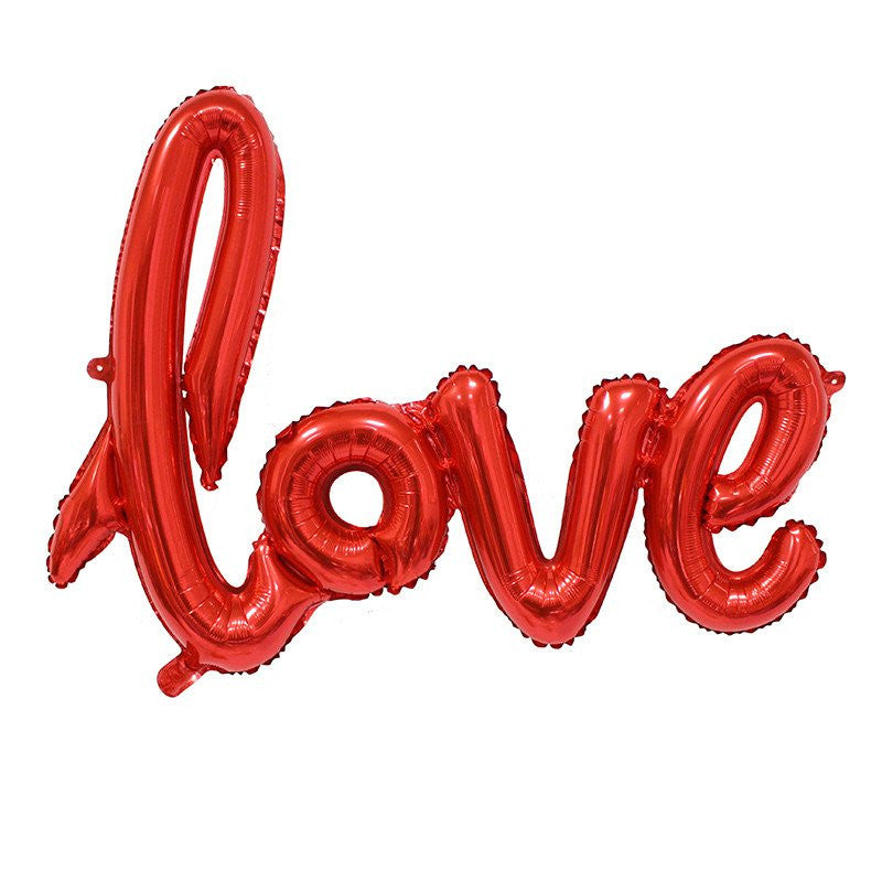 Red Balloon Banner in script writing 'Love' mylar wedding balloons - The Party Postman