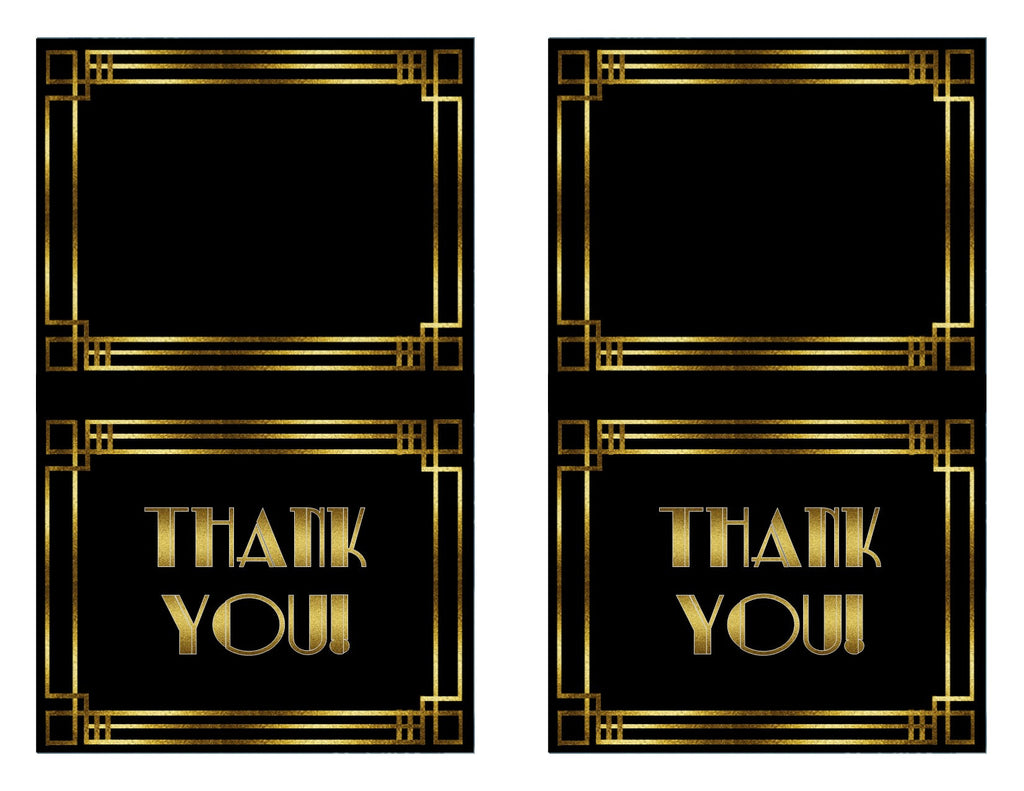 1920s Printable Thank You Cards in the style of Great Gatsby - Digital File - The Party Postman