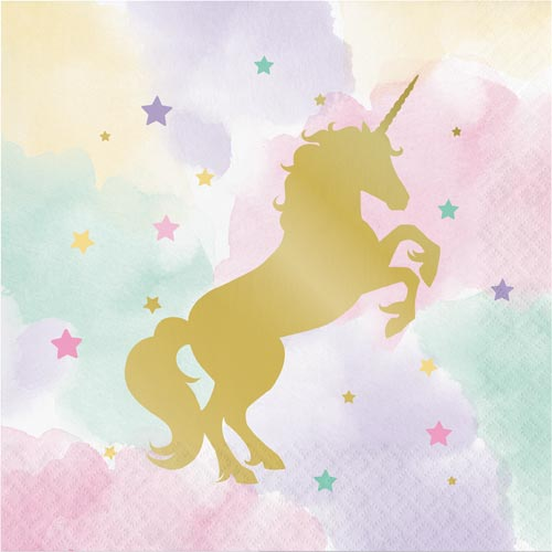 Unicorn Pastel and Gold Foil Paper Napkins