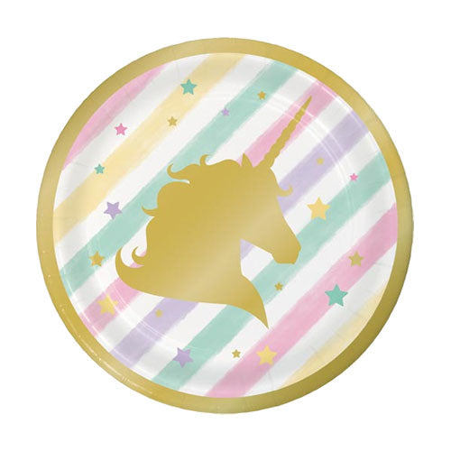 Unicorn and Gold Foil paper plates