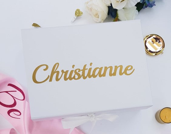 White Personalised Gift Box for Birthday, Bridesmaid Proposal or Christmas gift Box