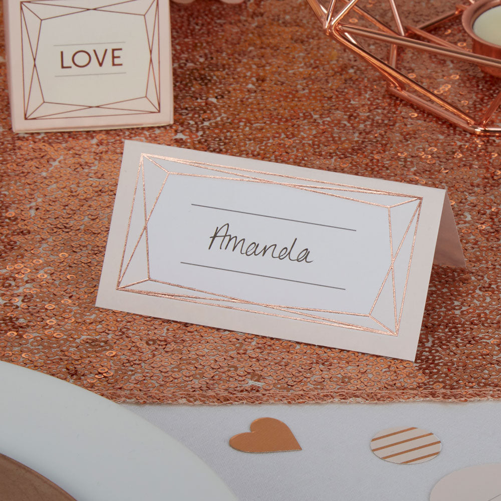 Geometric Rose Gold Place Cards