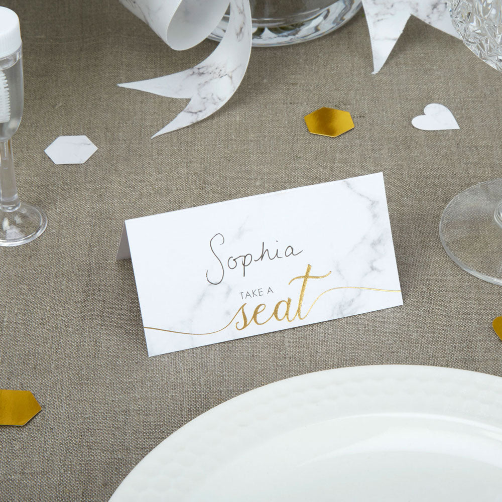 Marble Effect Place Cards for Weddings