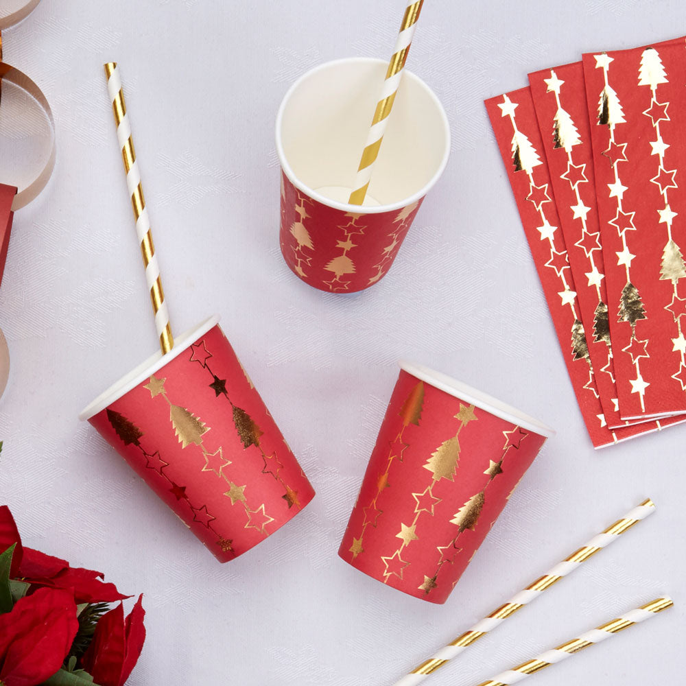 Christmas Dinner Party - Red and Gold Foil Paper Cups