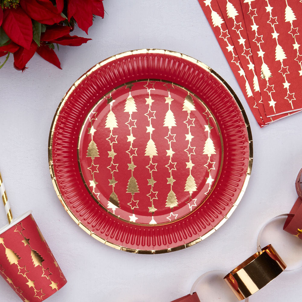 Red and Gold Foil Christmas Paper plates with Christmas Trees