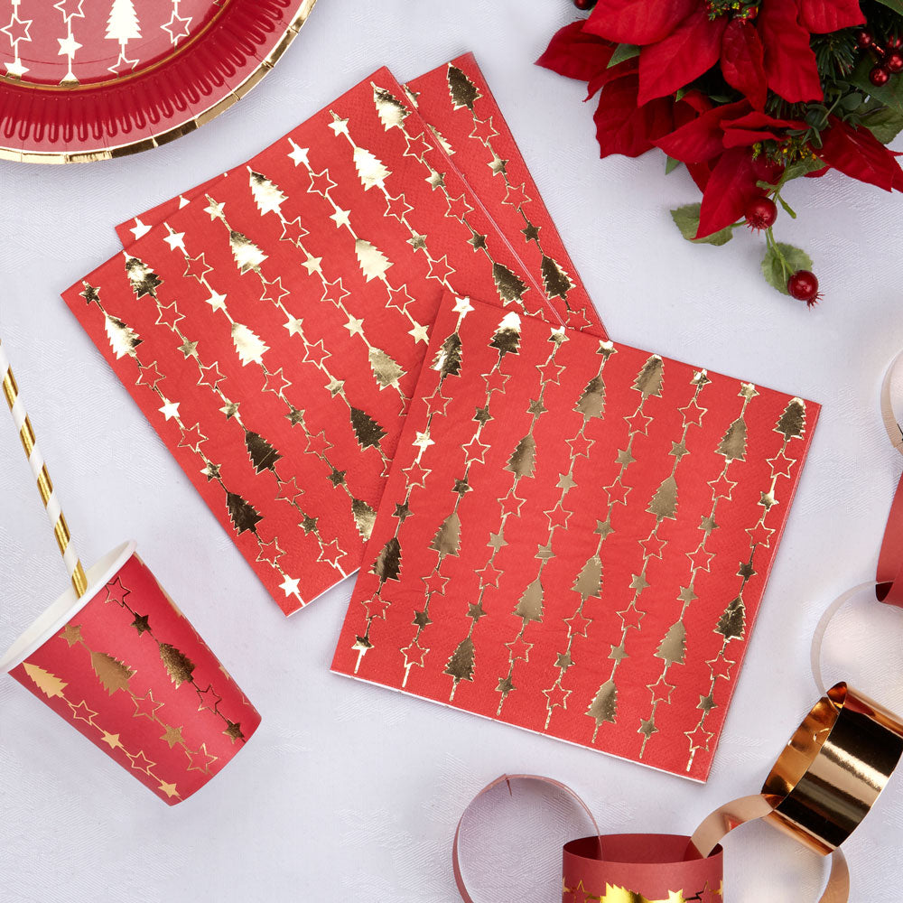 Red and Gold Foil Christmas Paper Napkins with Christmas Trees
