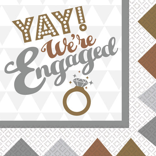 Bronze, Silver and Gold Engagement Party Napkins