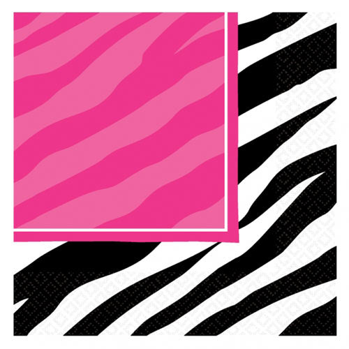 Hot Pink and Zebra Striped Paper Party Napkins