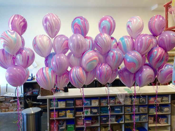 Marbled Balloons in pink blue purple and white - The Party Postman