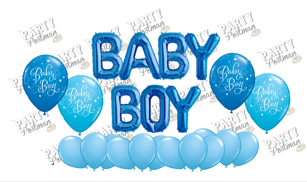 Baby Boy Balloon Cluster Party Pack - The Party Postman