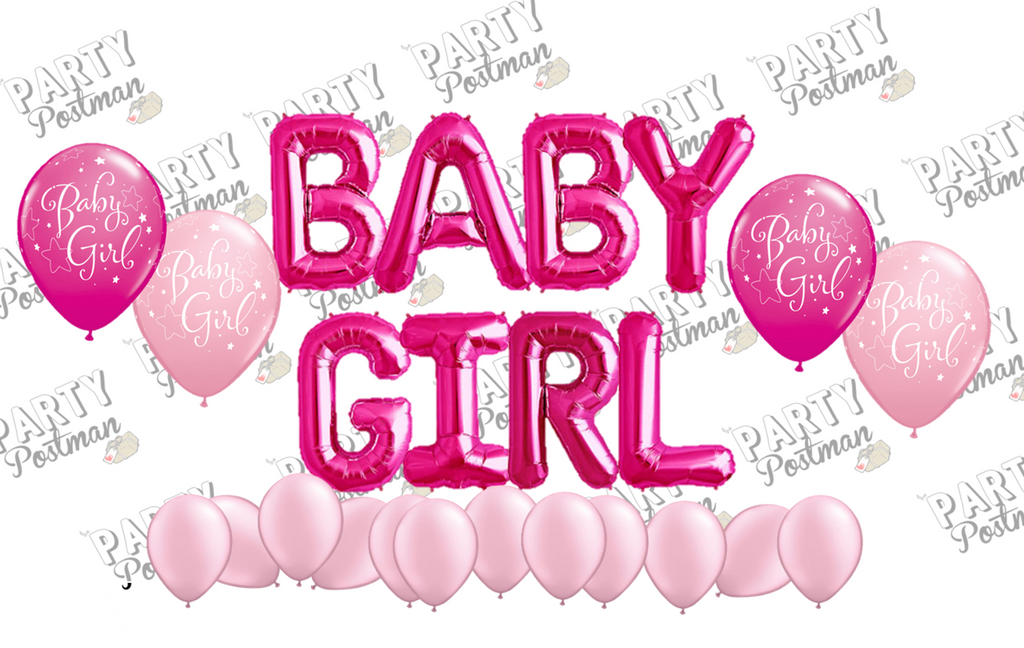 Baby Girl Balloon Cluster Party Pack - The Party Postman