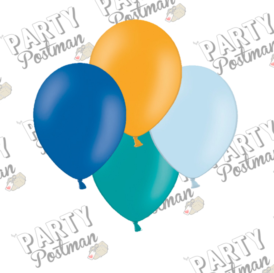 12 inch Orange, Navy, Light Blue and Turquoise Balloons - The Party Postman