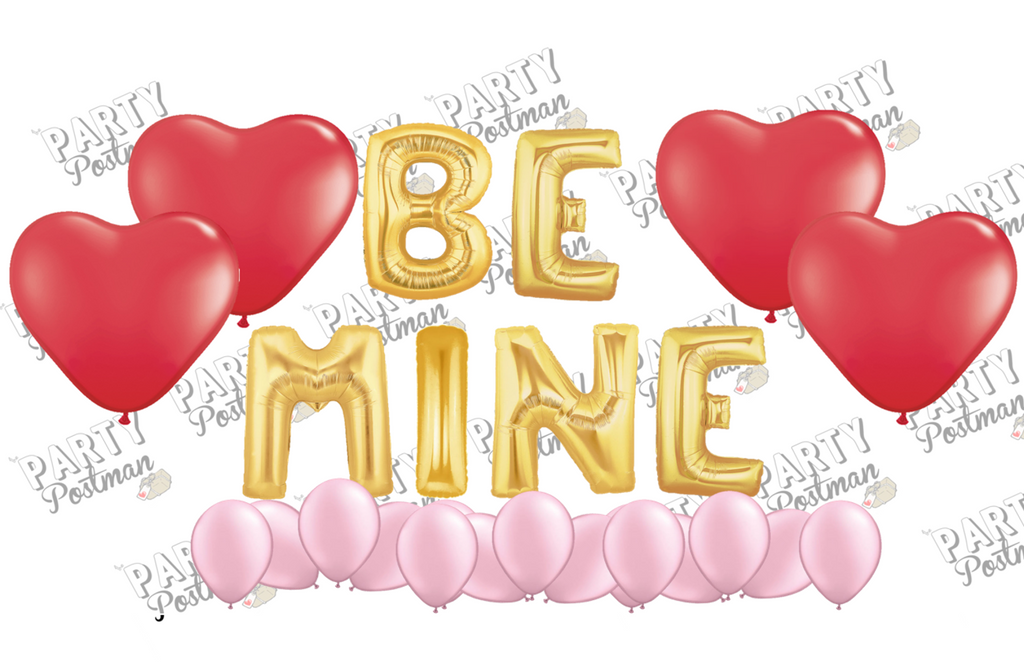 Be Mine Balloon Cluster Party Pack - Red, Gold and Pink - The Party Postman