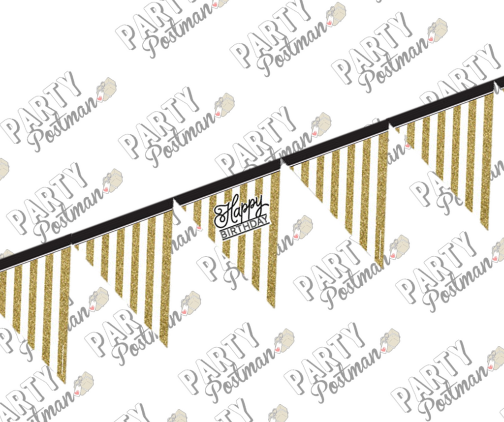 Black and Gold Happy Birthday Bunting - The Party Postman