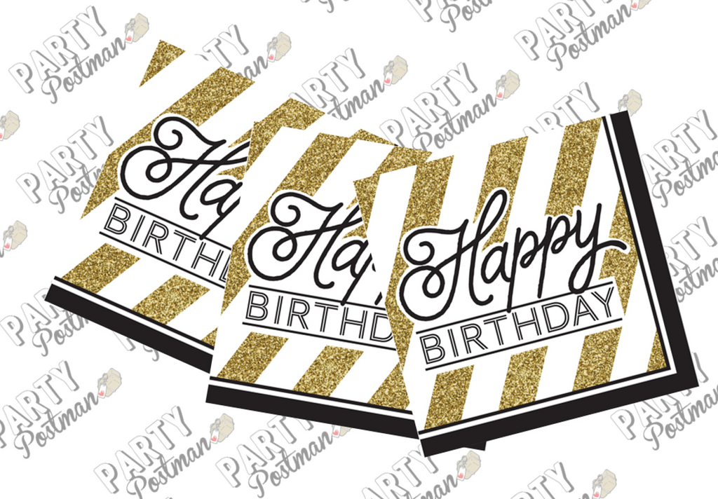 Black and Gold Happy Birthday Paper Napkins - The Party Postman