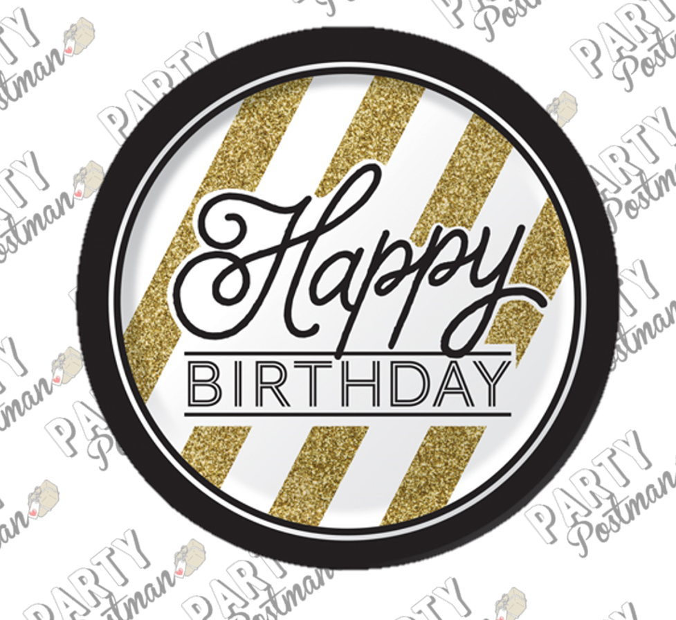 Black and Gold Happy Birthday Paper Plates - The Party Postman
