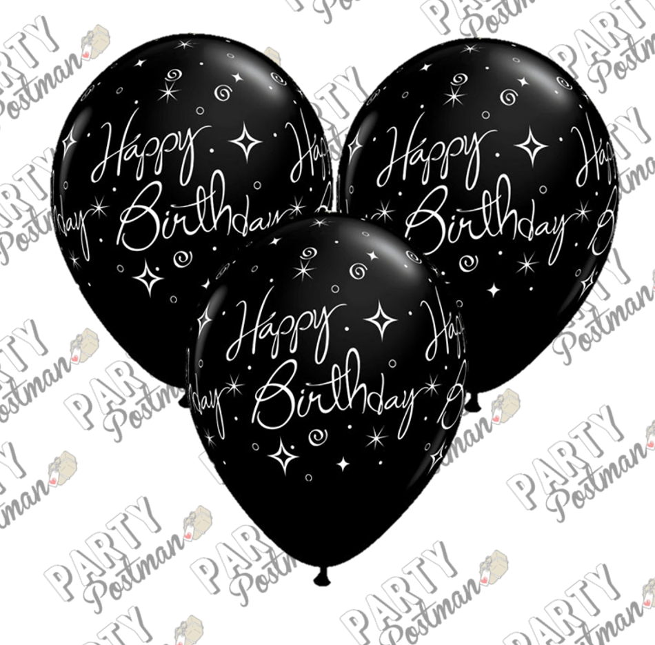 11 inch Black Birthday Balloons - The Party Postman