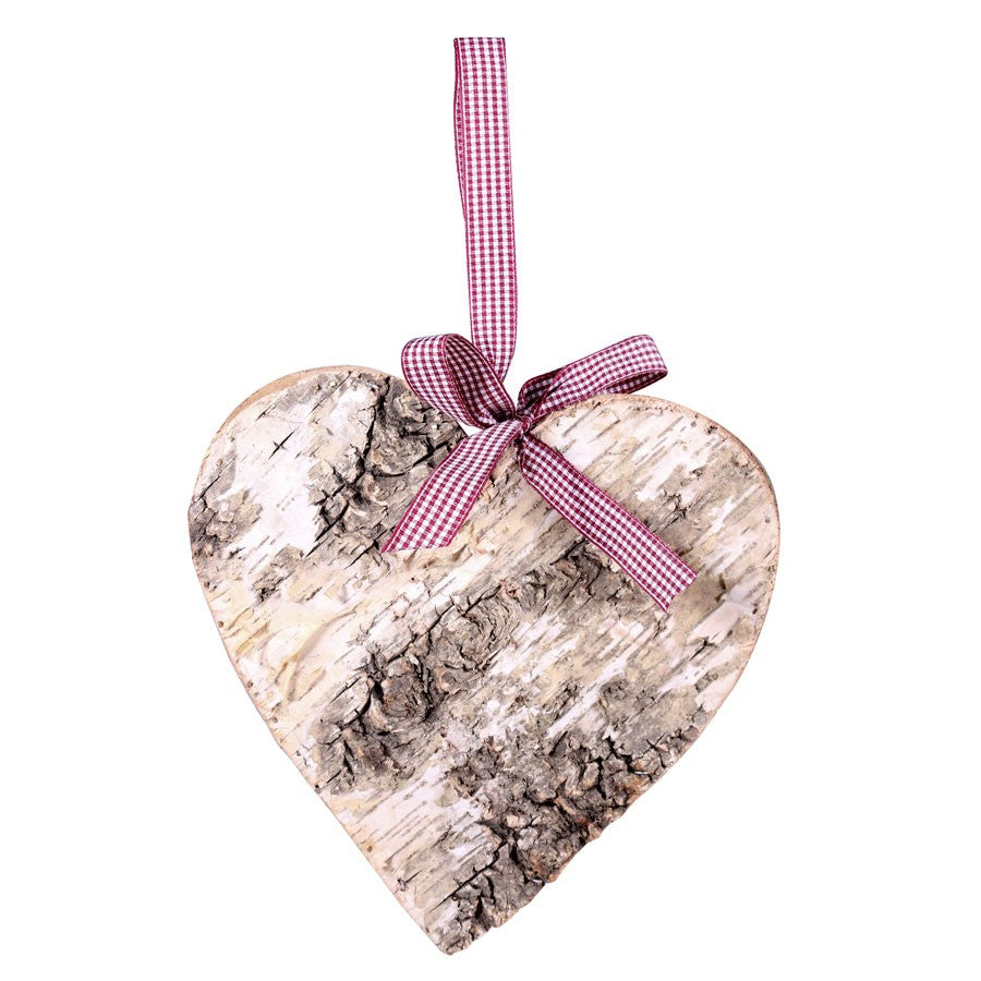 Birch Heart 20cm Large grey for wedding decorations and accessories