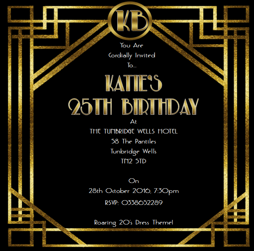 1920s Printable Birthday Invitation Great Gatsby Digital File