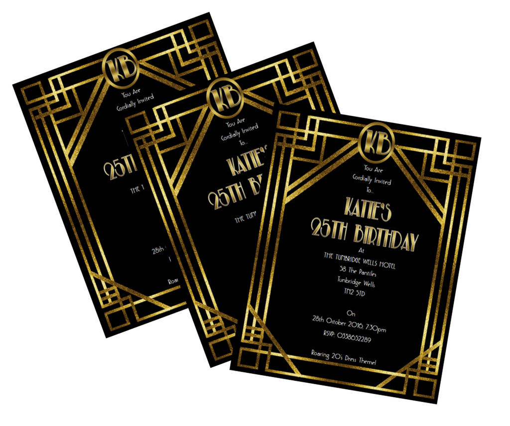 1920s Printable Birthday Invitation Great Gatsby - Digital File - The Party Postman