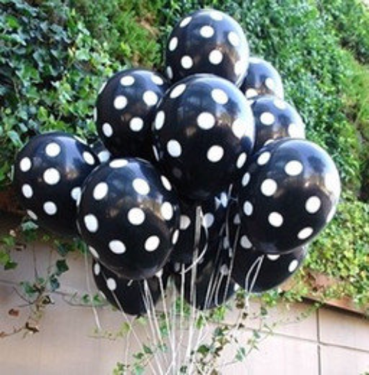 Black and White polka dot party balloon decorations - The Party Postman
